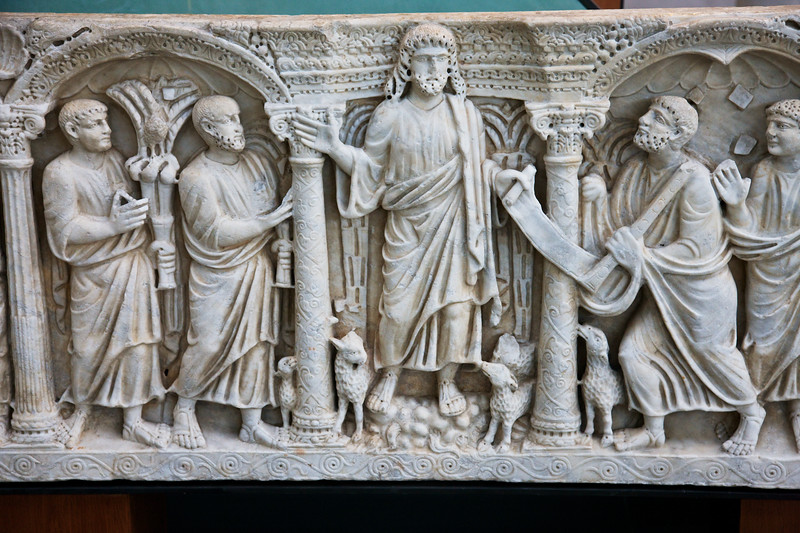 Roman Sarcophagus Detail showing Christ and lambs