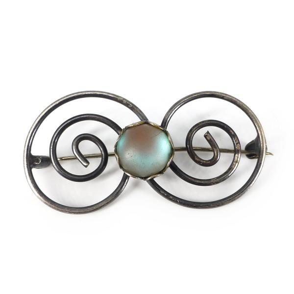 Vintage Mid Century German Saphiret Swirled Glass Metal Brooch