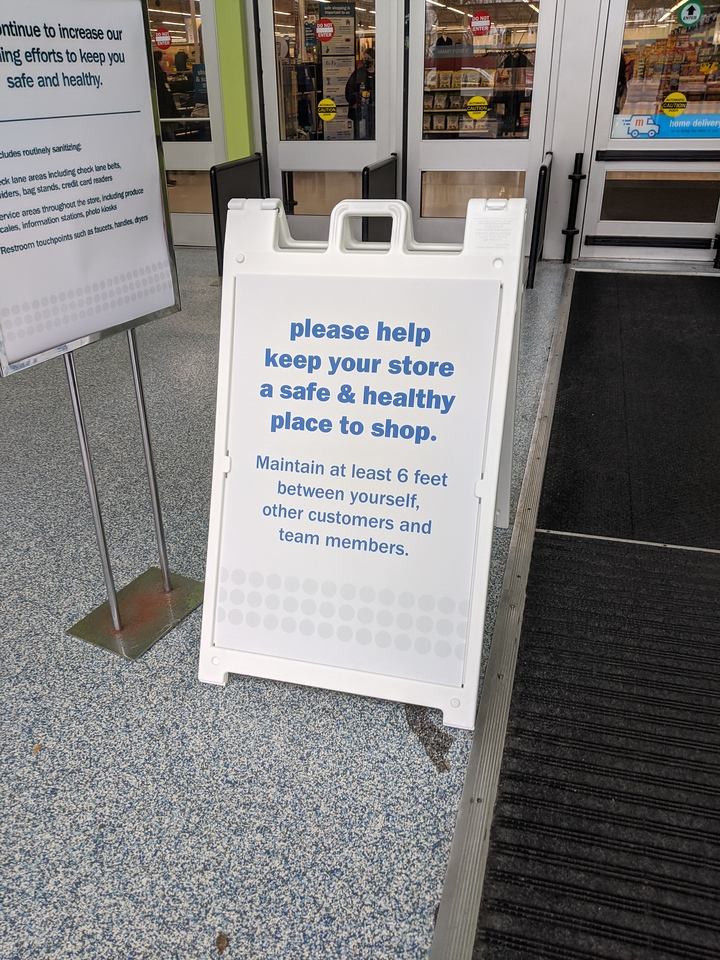 Entrance sign at Meijer, Apr 19, 2020
