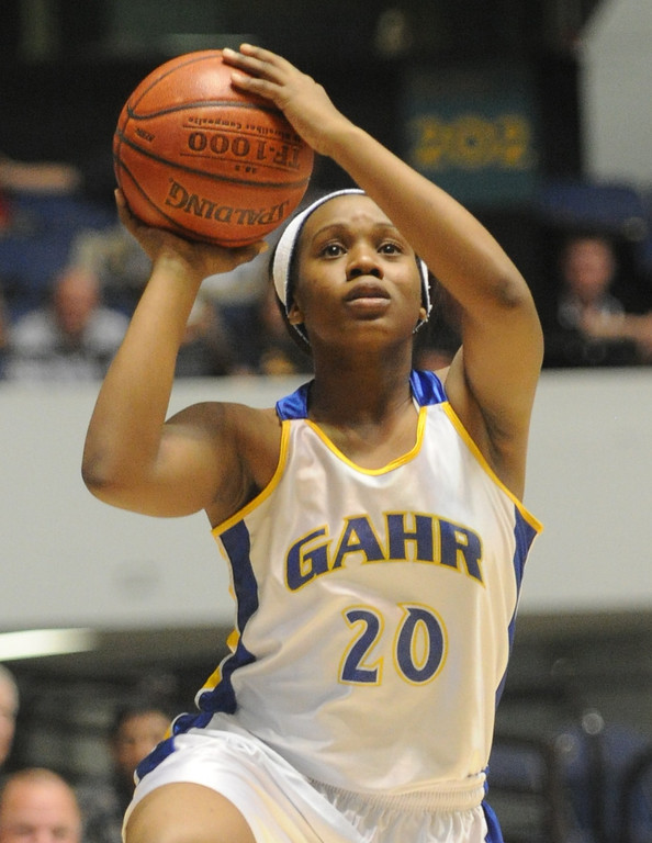 . 02-27-2012--(LANG Staff Photo by Sean Hiller)- Agoura defeated Gahr 60-39 in Wednesday\'s girls basketball D3AAA title game at Anaheim Arena. Chidera Agu (20) looks for a open shot.