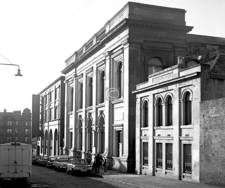 East Campbell St.    Built in 1864 as East Campbell St U P Church, this has since 1932 served as the Church of  Scotland Lodging  House Mission. A rarity in the Calton, an almost unchanged street scene, though the tenement in the Gallowgate is gone.    November 1973