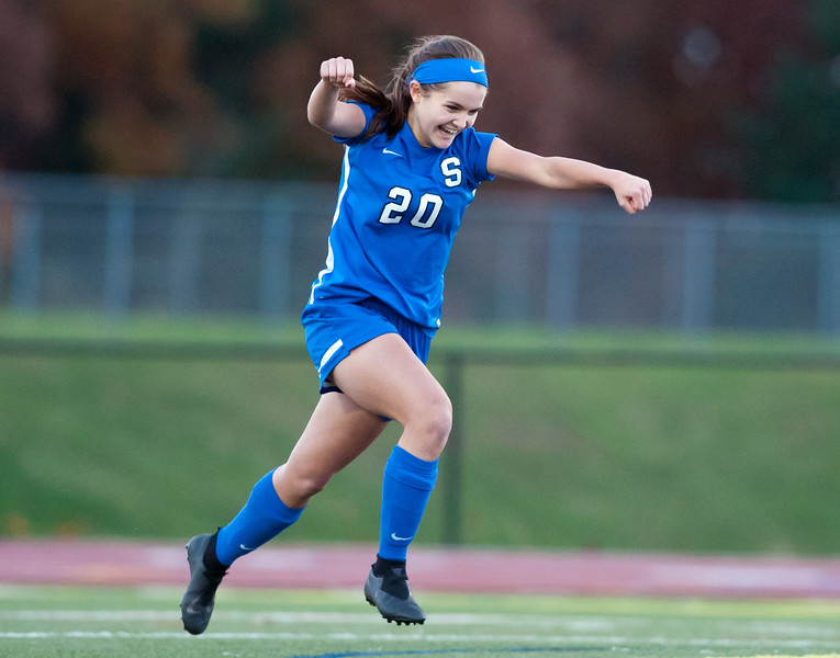 11/07/18  Wesley Bunnell | Staff  Southington girl soccer was defeated in PK by Simsbury in a second round Class LL CIAC Tournament game on Wednesday night. Katherine Crouse (20) runs towards her teammates after scoring during PK's.