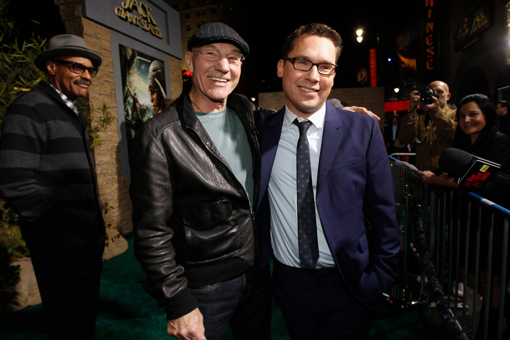 """Description of . Director Bryan Singer (R) poses with actor Patrick Stewart at the premiere of \""""Jack the Giant Slayer\"""" in Hollywood, California February 26, 2013. The movie opens in the U.S. on March 1.  REUTERS/Mario Anzuoni"""