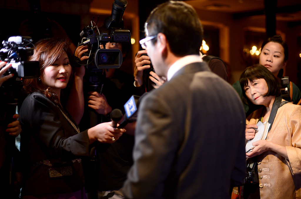 ". Trust Lin, director of Taiwan Tourism Bureau in Los Angeles, talks to media during a ""Taste Taiwan\"" event at Trattoria Neapolis in Pasadena Tuesday night, January 14, 2014. Trattoria Neapolis\' chef Bryant Wigger, one of three chefs chosen in North America for the show \""Taste Taiwan,\"" shares his culinary adventure on the island and a fusion pork dish recipe he came up with which he plans to include at the Pasadena restaurant.  (Photo by Sarah Reingewirtz/Pasadena Star-News)"