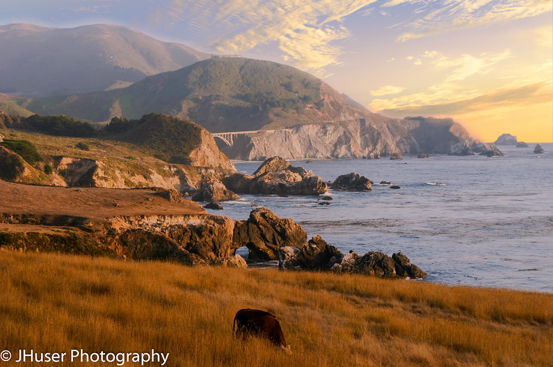 California coast and Bixby bridge at sunset