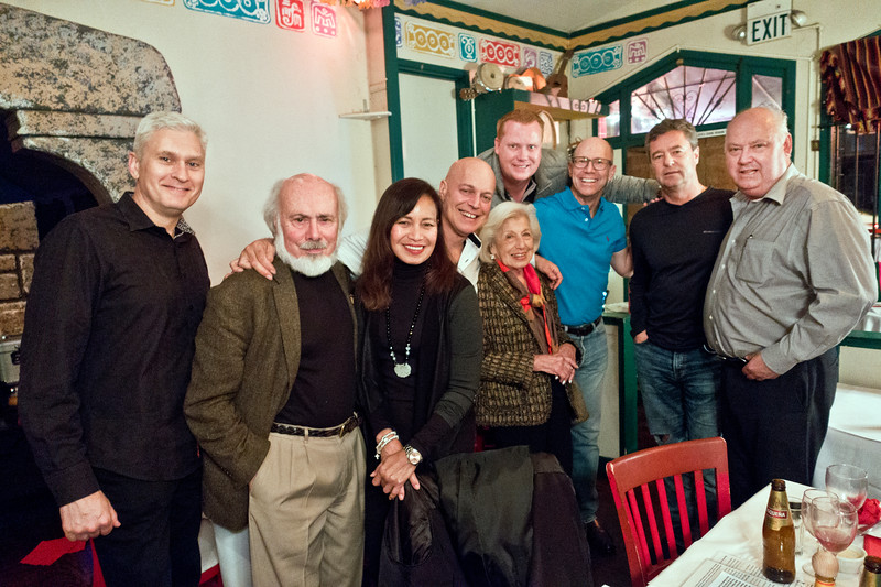 Stephen Somerstein, 2nd on left; Freddy Clarke, 4th on left; Pearl Clarke, 5th on left - BIRTHDAY PARTY at Peña Pachamama to celebrate Pearl Clarke's birthday. With Wobbly World band and others
