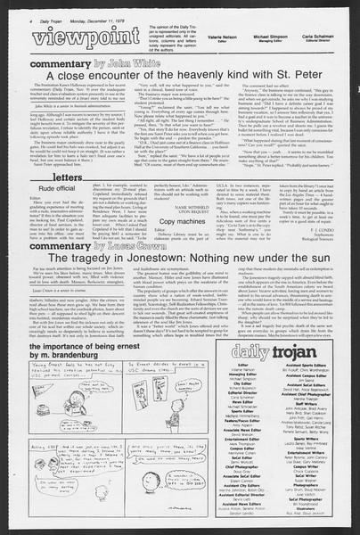 Daily Trojan, Vol. 75, No. 52, December 11, 1978
