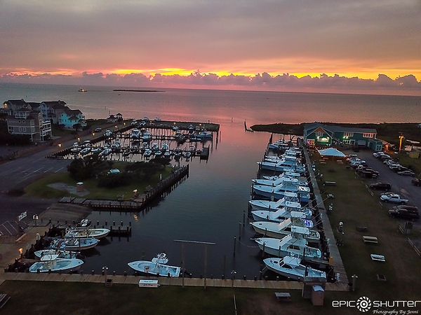 July 29, 2020 Sunset over Teach's Lair Marina and Hatteras Sol