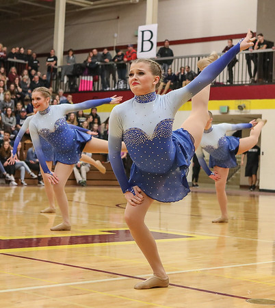 The Brainerd Dance Team performs their Jazz dance at the Section 4AAA Tournament on Feb. 3, 2018 at Forest Lake High School.  Photo Credit: Matt Blewett