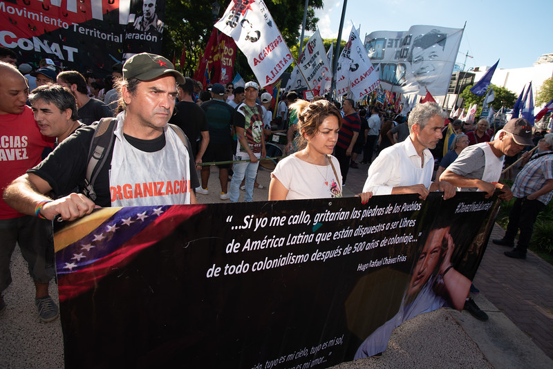 Protesters carry a banner while marching through Buenos Aires, Argentina during a protest on February 18, 2019. | Colin Boyle/Infobae