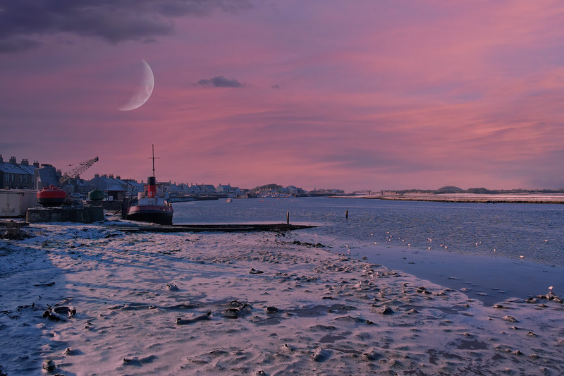 Harbour Street Irvine and the winter Ice on the Frozen shore at sunrise in Scotland's North Ayrshire