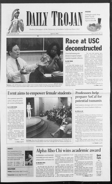 Daily Trojan, Vol. 154, No. 53, April 08, 2005