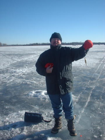 Ed ice fishing on White Bear Lake in Minnestora