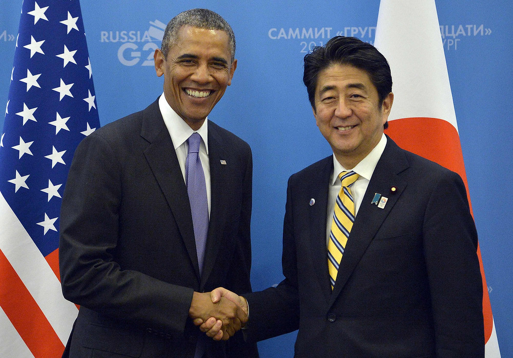 . US President Barack Obama shakes hands with Japans Prime Minister Shinzo Abe (R) before a bilateral meeting on the sideline of the G20 summit in Saint Petersburg on September 5, 2013. AFP Photo/Jewel SAMAD/AFP/Getty Images