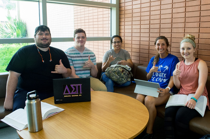 Miguel Valdez (left), Christian Ferris, Vanessa Leal, Dustyn Dockal, and Hannah Watkins study together in the O'Connor lobby.