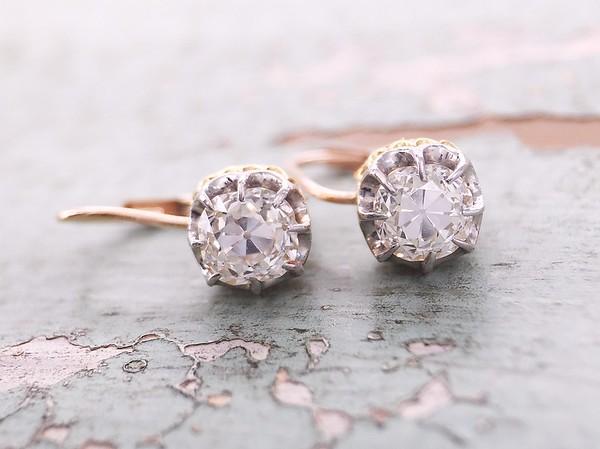 1.38ctw Antique Cushion Cut Diamond Earrings