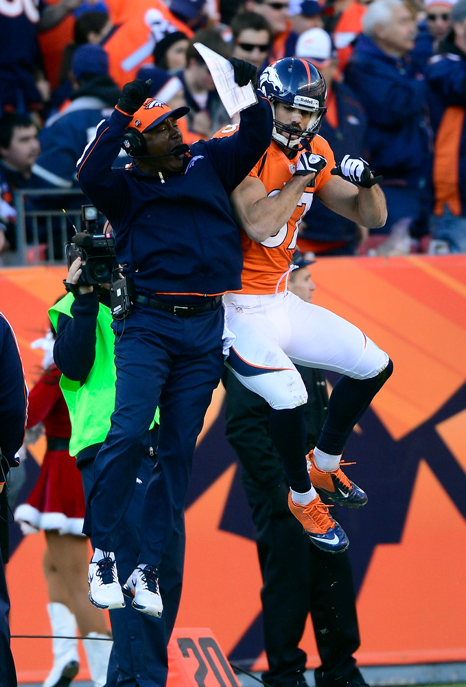 . Denver Broncos wide receiver Eric Decker (87) celebrates after scoring the second touchdown of the game.  The Denver Broncos vs Cleveland Browns at Sports Authority Field Sunday December 23, 2012. AAron Ontiveroz, The Denver Post