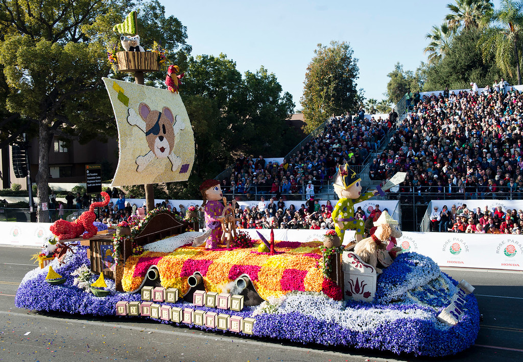 ". Cal Poly Universities ""Bedtime Buccaneers\"" float during 2014 Rose Parade in Pasadena, Calif. on January 1, 2014. This float won Crown City Innovation award for best use of imagination and innovation to advance the art of float design. (Staff photo by Leo Jarzomb/ Pasadena Star-News)"