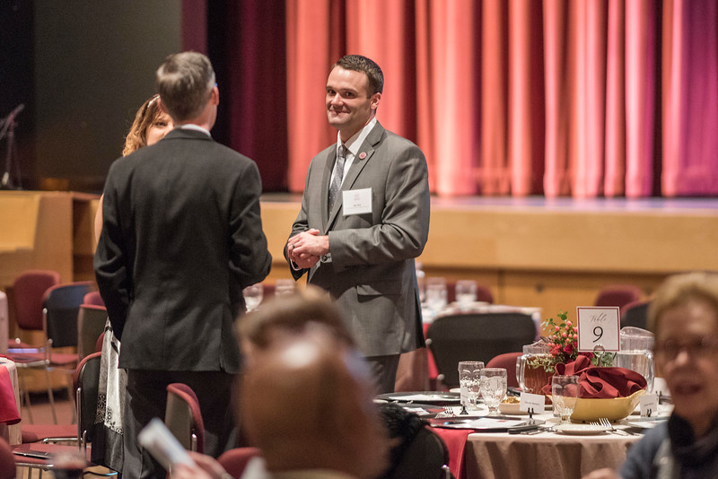 Ben Witt and guests attends the Distinguished Alumni dinner on Friday, March 9, 2018 in Chico, Calif.  (Jason Halley/University Photographer/CSU Chico)