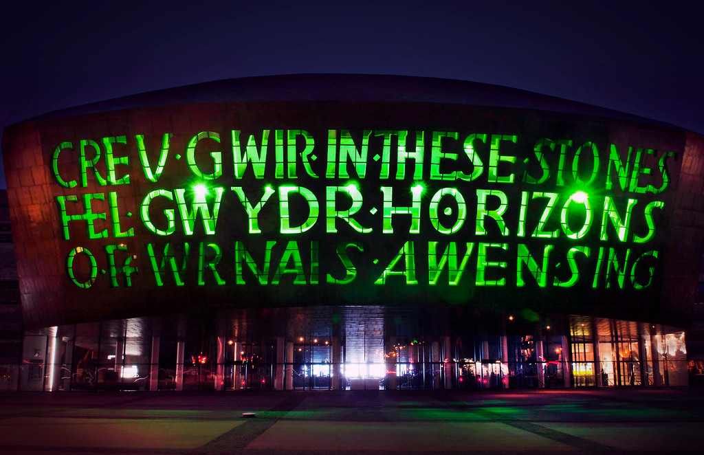 . This image supplied by Tourism Ireland on Monday March 16, 2015 shows Wales Millennium Centre in Cardiff lit green to celebrate St Patrick\'s Day on Tuesday. Landmark buildings across Ireland and the world have been floodlit green as global celebrations of the Emerald Isle\'s patron saint are culminating in parades and celebrations in Dublin and other cities, particularly in the U.S., on St. Patrick\'s Day. (AP Photo/Tourism Ireland)