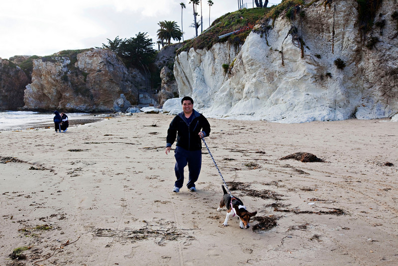 Todd and Suki running on Pismo Beach