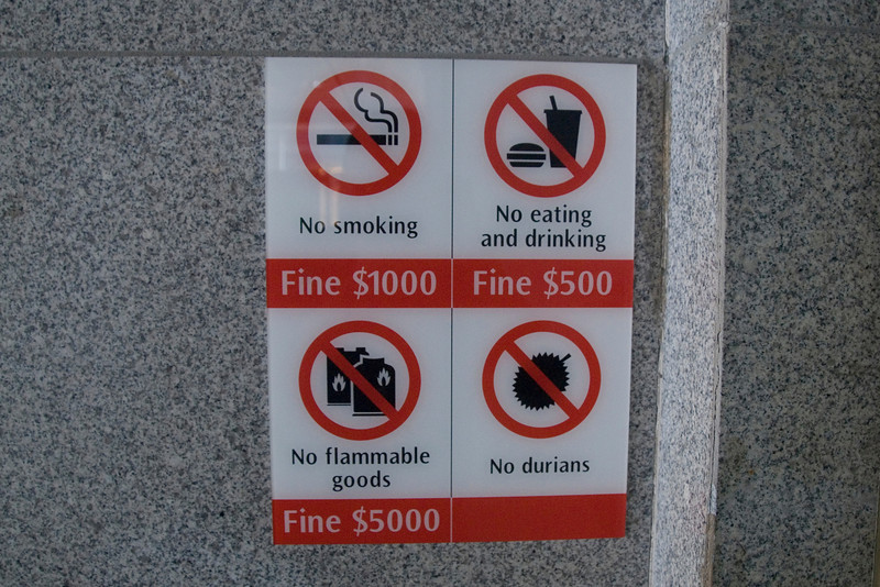 Warning sign at the subway in Singapore