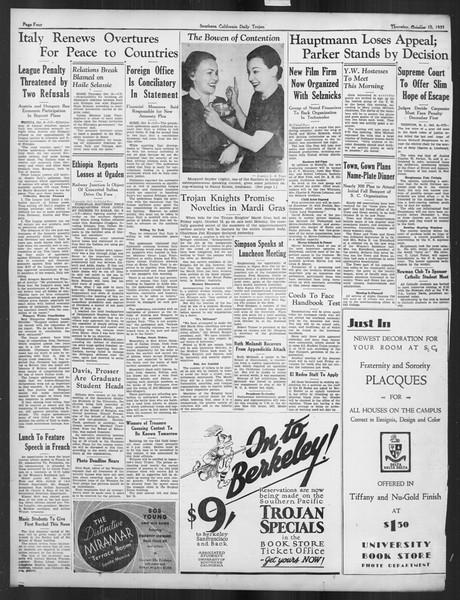 Daily Trojan, Vol. 27, No. 15, October 10, 1935