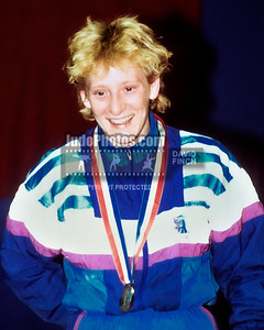 1989 Belgrade Worlds 891015B1112: Sharon Rendle of Great Britain won the 52kgs gold medal....