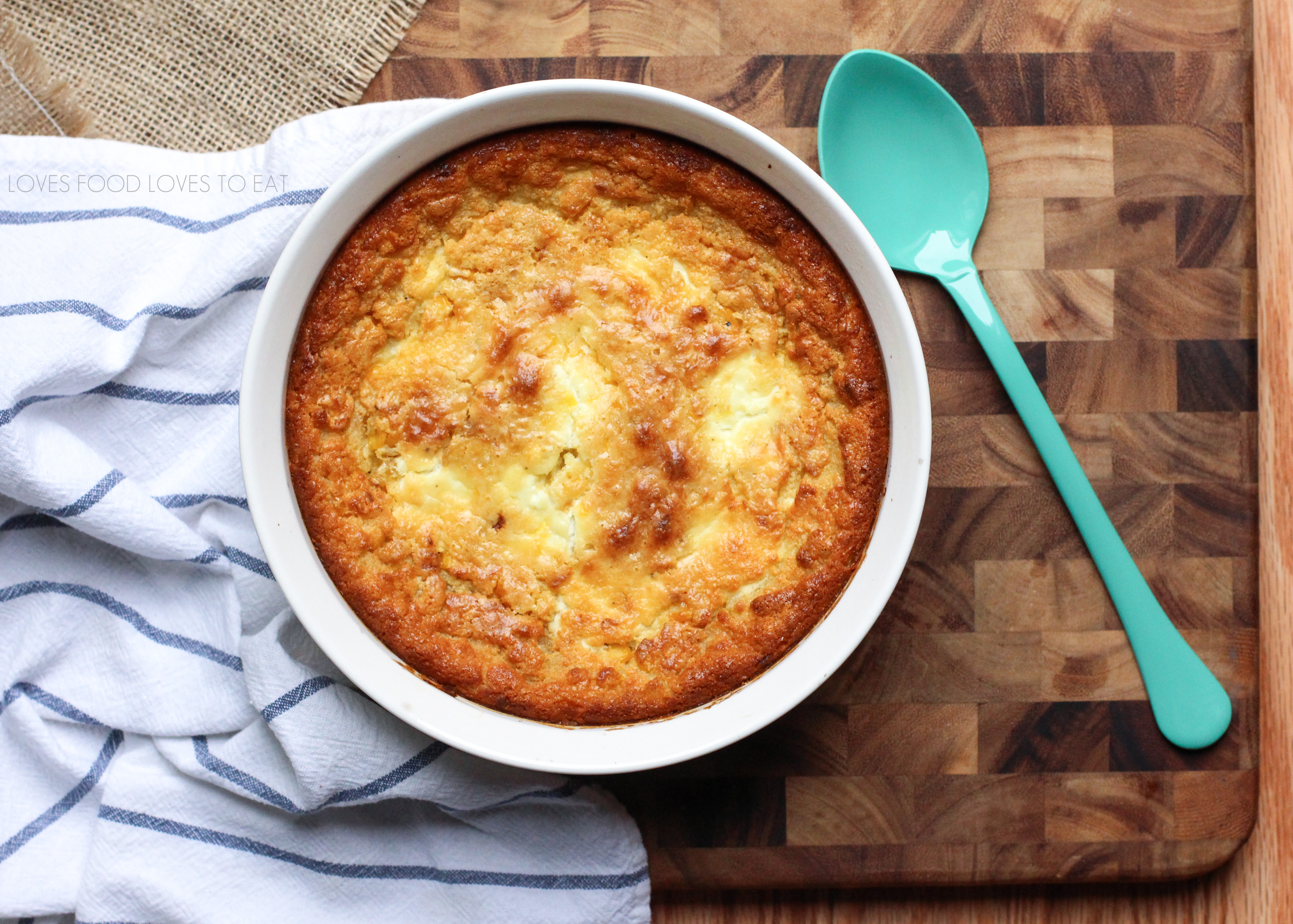 Caramelized onion and goat cheese corn pudding // Loves Food Loves to Eat
