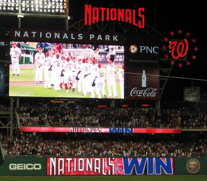 The Nationals celebrate their 5-2 win over the Pirates