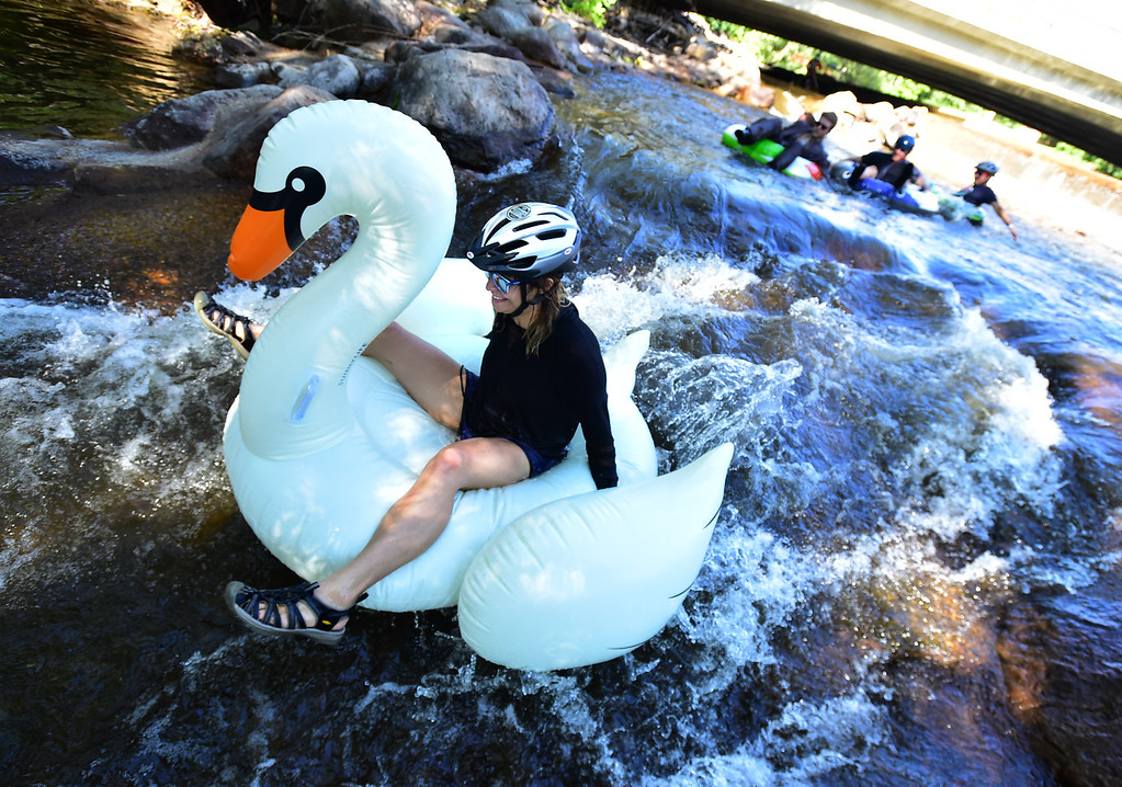 . Meg Viola holds onto her swan in the last rapid on Boulder Creek near the finish of the 11th Annual Tube to Work Day on Wednesday morning.  Paul Aiken Staff Photographer July 11 2018