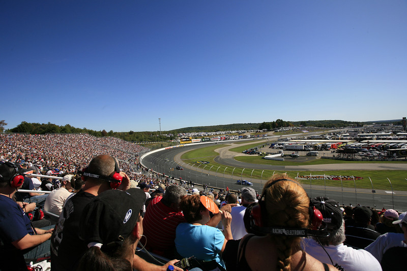 A wide angle shot looking east through turn 3