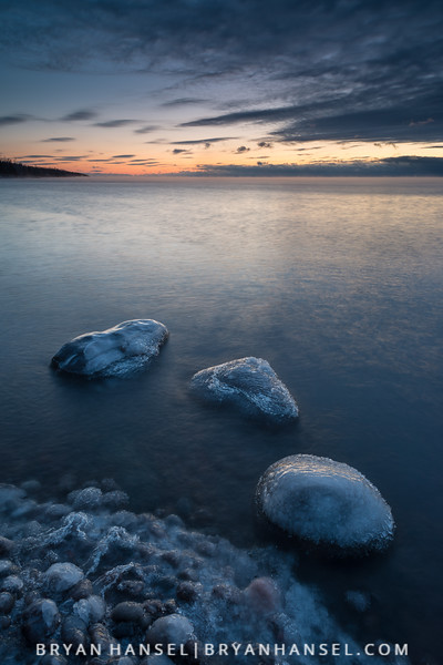 Three Rocks and Ice