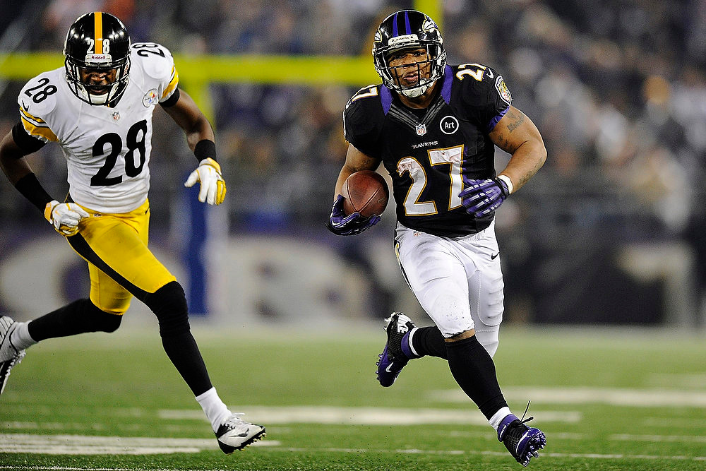 . Baltimore Ravens running back Ray Rice (27) breaks free and heads towards the end zone for a touchdown as Pittsburgh Steelers defensive back Cortez Allen pursues during the second half of an NFL football game in Baltimore, Sunday, Dec. 2, 2012. (AP Photo/Nick Wass)
