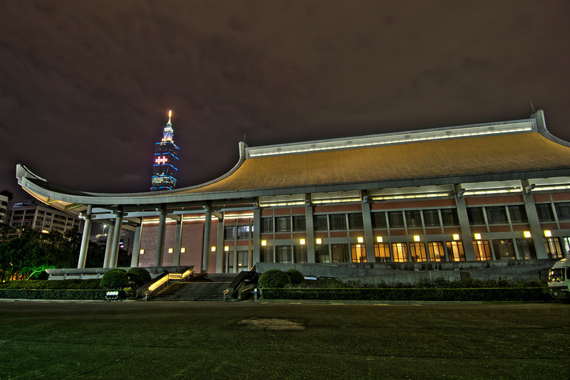 Wide shot of Taipei 101 and Dr. Sun Yat Sen Memorial HDR  - Taipei, Taiwan