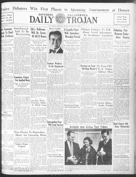 Daily Trojan, Vol. 28, No. 84, February 23, 1937
