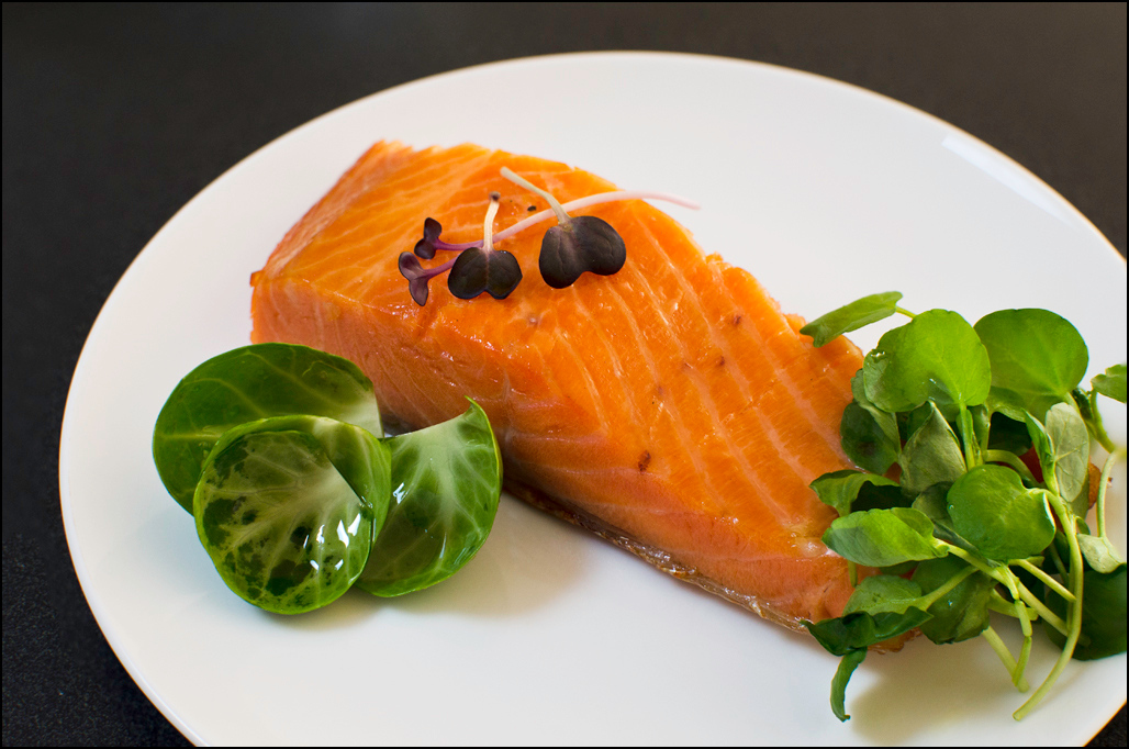 Baked Hot Smoked Ocean Trout with Radishini, Watercress and Brussels Sprouts - Woodbridge Smokehouse