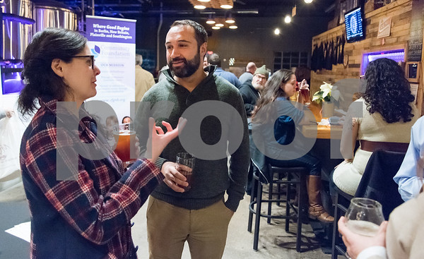11/28/17 Wesley Bunnell | Staff The Community Foundation of Greater New Britain held a Giving Brewsday event at Alvarium Beer on Tuesday evening for young entrepreneurs to become involved in the foundation. Executive Director of New Britain ROOTS Joey Listro, R.