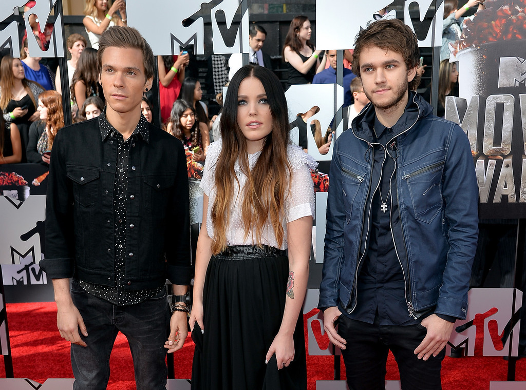. (L-R) Musicians Matthew Koma, Miriam Bryant and Zedd attend the 2014 MTV Movie Awards at Nokia Theatre L.A. Live on April 13, 2014 in Los Angeles, California.  (Photo by Michael Buckner/Getty Images)
