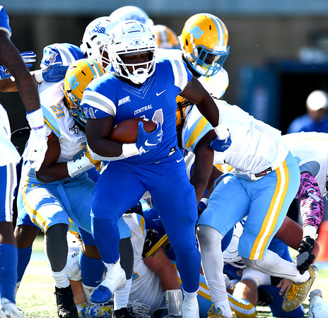10/26/2019 Mike Orazzi | Staff CCSU'sEnyce Walker (31) during Saturday's football game with Long Island University in New Britain.