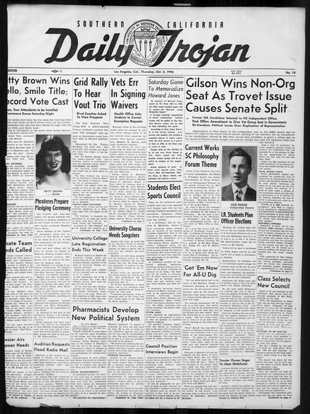 Daily Trojan, Vol. 38, No. 14, October 03, 1946