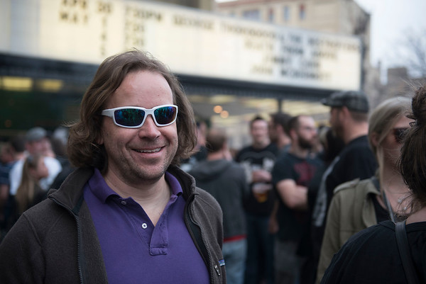 DAVID LIPNOWSKI / WINNIPEG FREE PRESS  Rob Hester photographed in the beer gardens at the Burton Cummings Theatre prior to Eagles Of Death Metal Sunday May 1, 2016.