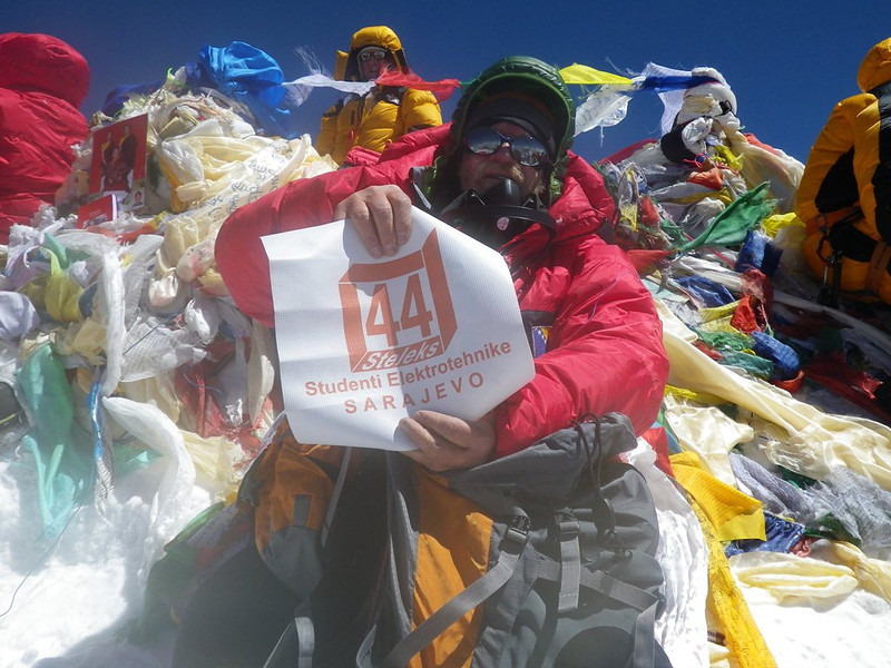 At the roof-top of the world: Mt Everest at 29,035ft or 8.850m - 6. With University of Sarajevo - Department of Electrical Engineering Alumni Association logo. 10am - May 19, 2012.