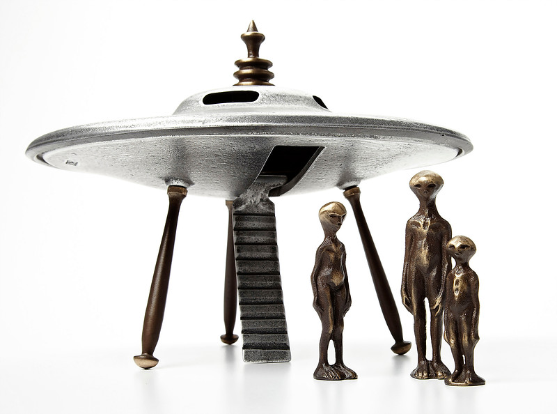 090518 Flying Saucer & Alien Family Sand Cast Aluminum and Sand Cast Bronze SCOTT NELLES at Human Arts Gallery OJAI CA.jpg