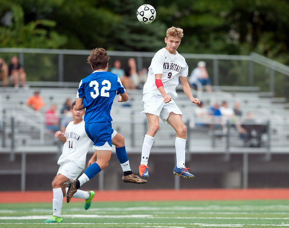 09/17/18 Wesley Bunnell | Staff Bristol Eastern soccer defeated New Britain 2-0 on Monday afternoon at Bristol Eastern High School. Bristol Eastern's Gabe Soucy (32) and New Britain's Konrad Piechota (9).