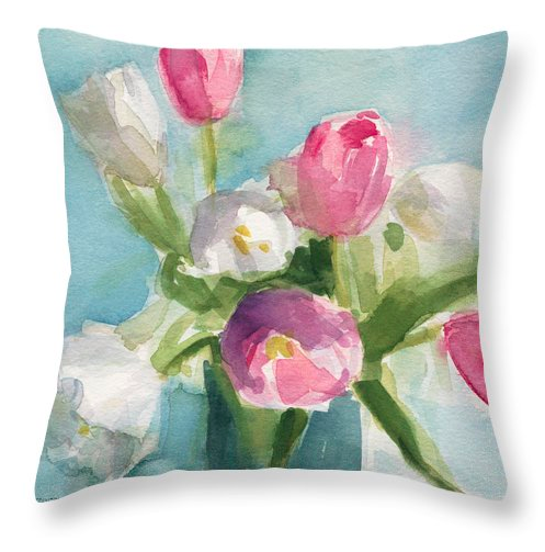 Pink, white, aqua and green shabby chic floral painting throw pillow by Beverly Brown. For sale in multiple sizes at www.beverlybrown.com