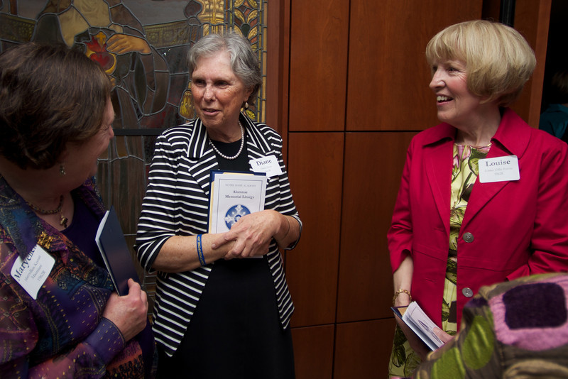 Maryellen Keenan Mastriani, left, Diane Goss, center, and Louise Gillis Potvin, right, all of the Class of 1962