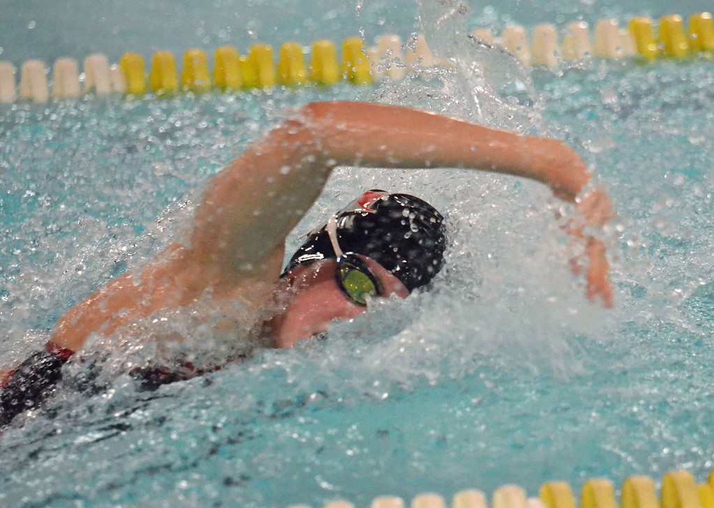 . Paul DiCicco - The News-Herald Hawken\'s Portia Brown swims the anchor leg on the Hawks\' 200 free relay Jan. 20 during the CVC meet.