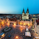 Night falls over the beautiful city of Prague and Old Town Square