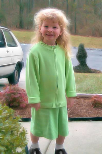 Abigail ready for Church, Sunday January 7th, 2001.